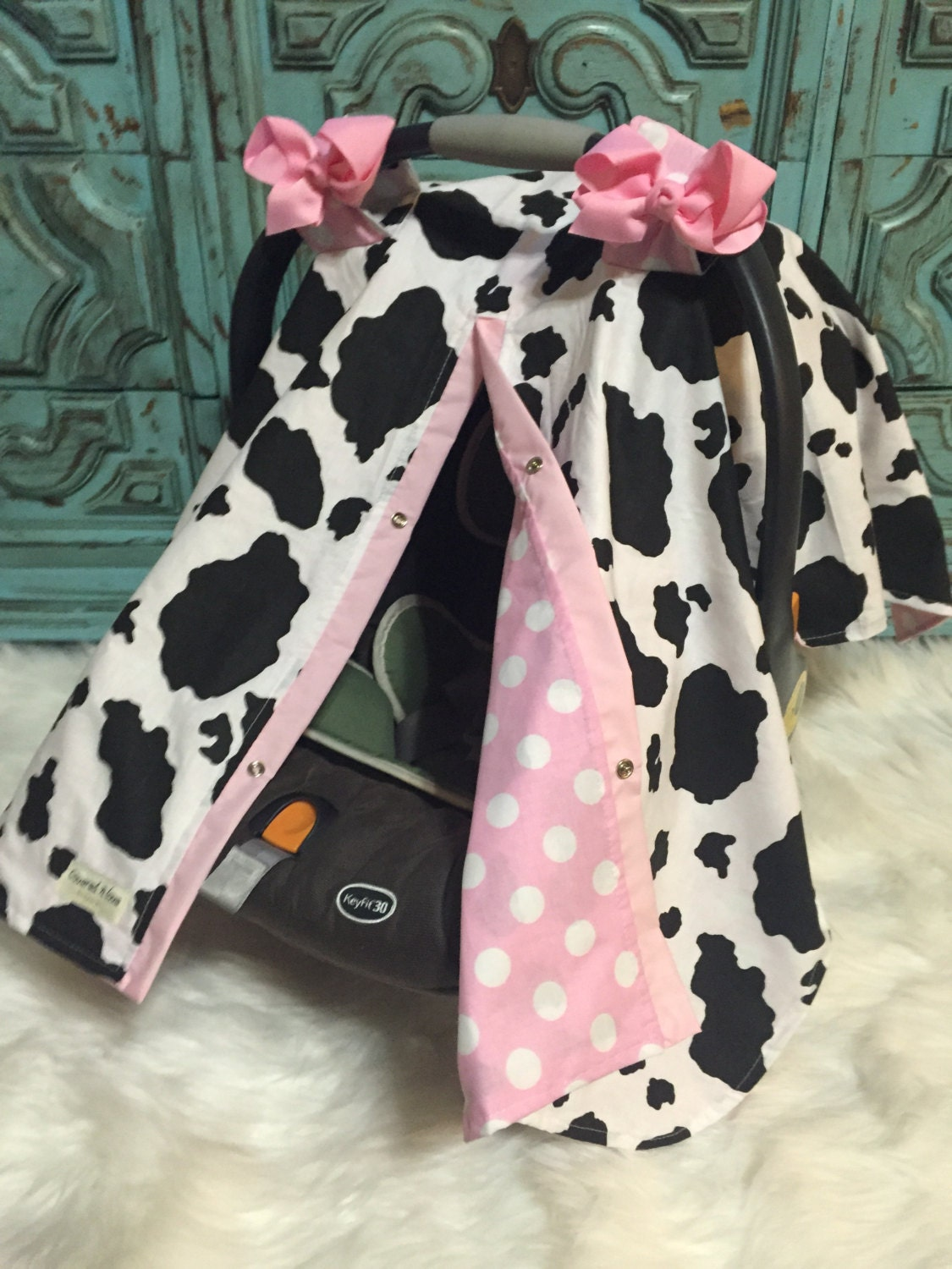 infant car seat cover Cow print / car seat cover / nursing cover / carseat canopy / carseat cover & infant car seat cover Cow print / car seat cover / nursing cover ...