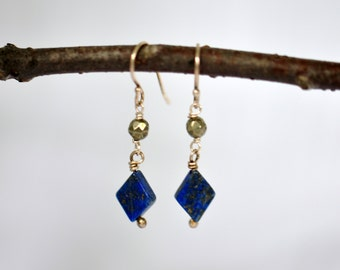 Lapis Lazuli, Pyrite and Sterling Silver Earrings