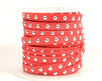 Faux Suede - 5mm Flat Studded - Coral - 5 Feet