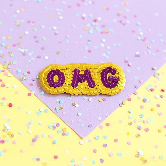 OMG Sequin Patch - Handmade - Gold & Purple