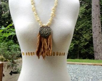 Boho Beach Babe buckskin leather fringe and seashell necklace