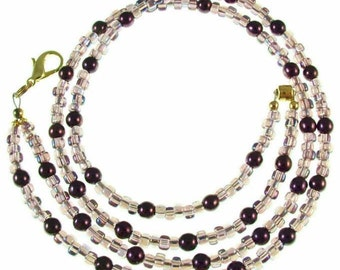 Purple pearl & glass beaded, break away ID badge holder, necklace and more- gold or silver