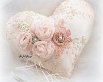 Wedding Ring Pillow, Ivory, Bush, Rose, Heart Pillow, Vintage Wedding, Elegant, Lace Ring Pillow, Gatsby, Pearls, Brooch, Crystals