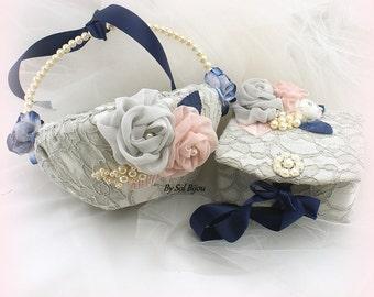 Flower Girl Basket, Wedding Ring Box, Navy Blue, Rose, Blush, Gray, Ivory, Ring Box, Jewelry Box, Vintage Wedding,Pearls, Lace, Crystals