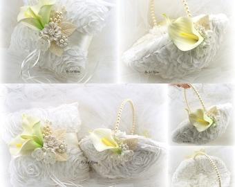 Ring Bearer Pillow, Flower Girl Basket, Ivory, Cream, Yellow, Calla Lily, Wedding, Oval, Brooch, Pearls, Crystals, Vintage Wedding, Elegant