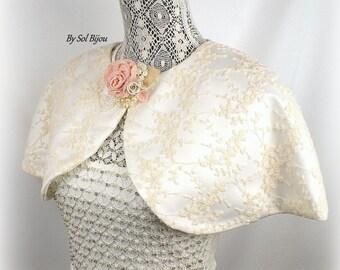 Ivory Cape, Wedding Cape, Bridal Cape, Lace Cape, Shrug, Tan, Rose, Capelet, Bolero, Brooch, Lace, Pearls, Vintage, Elegant Wedding