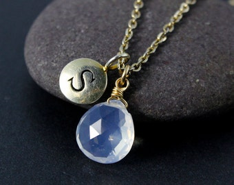 Ice Quartz Initial Charm Necklace – Choose Your Setting