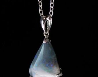 40 OFF SALE Grey White Australian Opal Necklace - Teardrop - 925 Sterling Silver