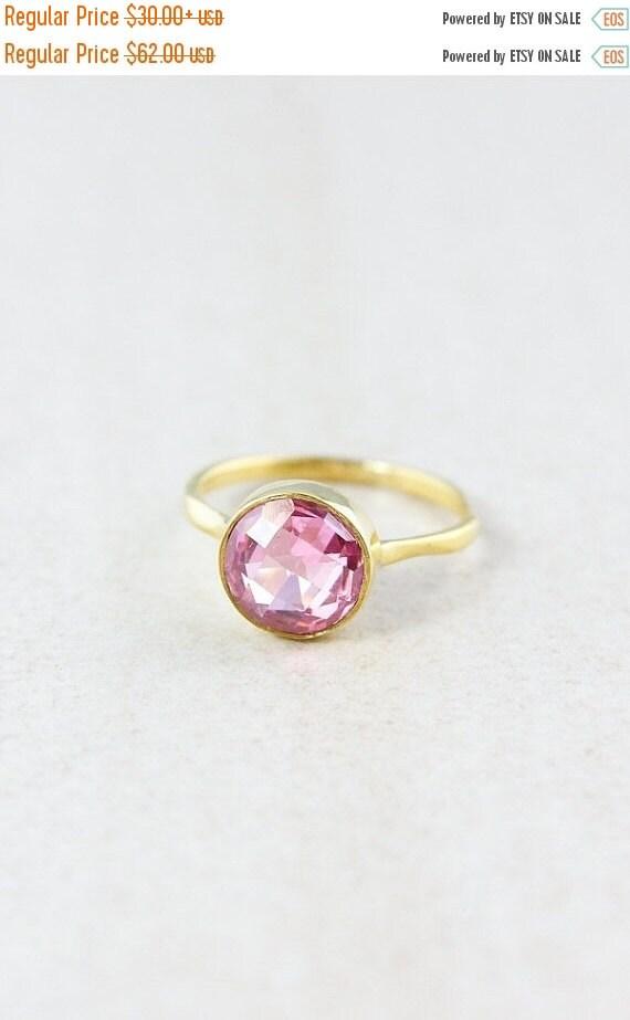 25% OFF Gold Pink Quartz Ring - Gemstone Ring - Stacking Ring, Brilliant Round Cut