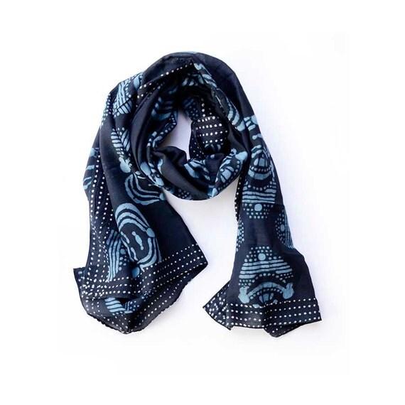 black scarf Blue and black fashion Scarf wrap scarves cotton Block Print natural dyes ichcha fall fashion women accessories - kali