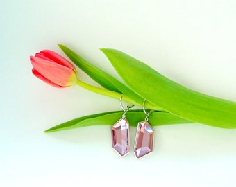 Crysal - Pink - Blush - Swarovski - Earrings - Dangle - Geometric - Art Deco Style - Romantic - Sparkly - Silver Tone Metal - Leverback