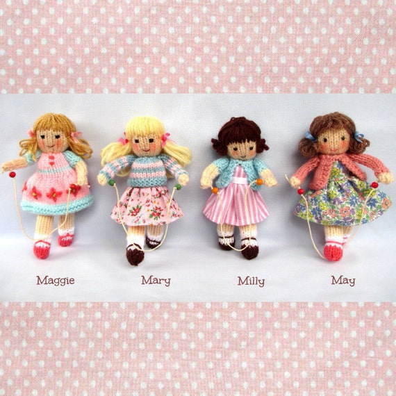 Knitting Patterns Little Dolls : Little Skipping Friends 4 doll knitting pattern INSTANT