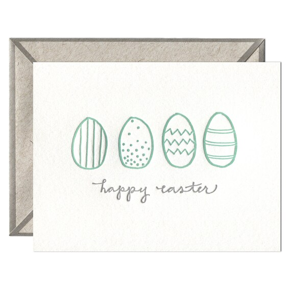 Easter Eggs letterpress card - single