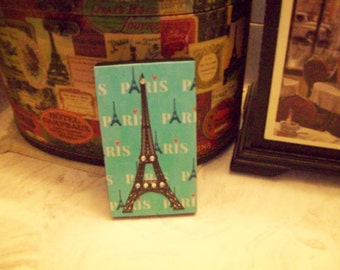 Small Teal blue EIFFELTower decor block,PARIS decor,shabby chic,Paris bedroom decor,FRENCH bedroom,Paris wall decor,bedroom decor