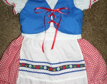Little Girls Oktoberfest Inspired Dirndl Costume Dress Vest Apron Outfit Set Size 4