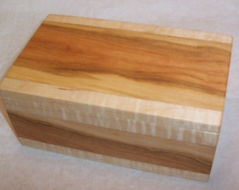 Handcrafted Curly Cherry and Maple Wood Box