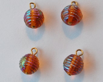 Vintage Czech Glass Beads Beehive Molded Lined Pendant Bead Topaz Ab 9mm