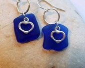 GENUINE Sea Glass Cobalt  Blue and Sterling Silver Earrings