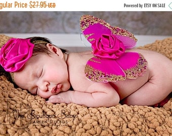 Baby Butterfly Wings and Headband Set, Luxe Newborn Baby Wings, Baby Girl Photography Prop, Hot Pink and Gold Glitter Wings, Flower Wings