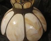 Vintage Tans and Browns Slag Lamp Shade, Hanging Lamp Shade, Vintage Lamp Shade, Stain Glass Shade