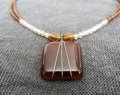 Vintage Hand Made Glass Beaded Fused Glass Pendent Necklace Natural Tones, Glass and Metal Beaded Necklace, Fashion Accessory