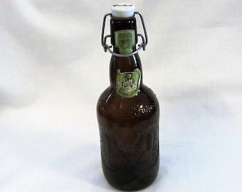 Grolsch Amber Swing Top Beer Bottle Vintage, Collectible Vintage Amber Grolsch Bottle, Swing Top Bottle, Flip-Top Lid Bottle, Vintage Bottle