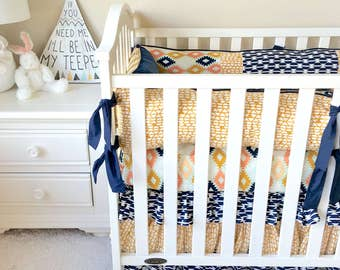 Baby Bedding, Agave Fields Baby Bedding, Navy Aztec Crib Bedding, Crib Sets for Boys, Luxury Baby Crib Sets, Crib Bedding Set, Boy's Bedding