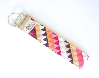 Fabric Key Fob - Orange Pink Black Brown Geometric Triangles