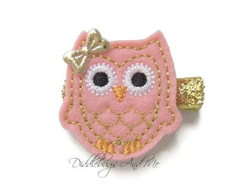 Coral Pink And Gold Owl Hair Clip, Coral Owl Hair Clip, Girls Owl Hair Clips, Gold And Coral Pink Owl Hair Clip, Hair Clips For Girls