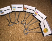 Owls Day of the Week Teacher Binder Clips Teacher Organization Clips Set of 5 Bright and Cheerful and Fun Set 4