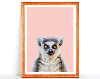 Printable Wall Art HAPPY SMILING LEMUR Cute Little Monkey Home Decor Pink Nursery Print Animal Photography 8x10 11x14 16x20 4x6 DinA3 Din A4