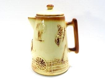 McCoy El Rancho Cowboy Coffee Pot Vintage 1960s Mc Coy Pottery Coffee Server