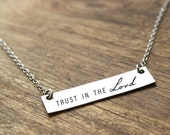 Trust in the Lord Necklace Religious Necklace Bible Verse Necklace Religious Jewelry Gold Necklace Silver Necklace Bible Necklace