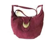 Burgundy Suede Bag Slouchy Shoulder Hobo Vintage Crossbody