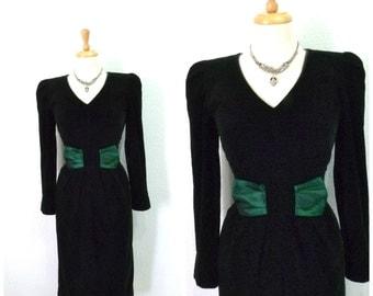 1980s Velvet Dress Dark Emerald Taffeta Bow Long sleeves Evening Cocktail Dress S