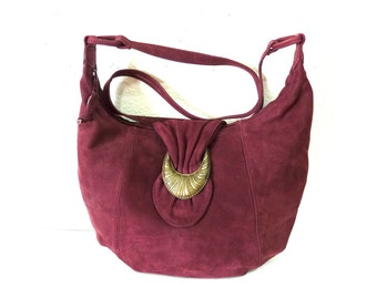 Burgundy Suede Bag Slouchy Shoulder Hobo Vintage Crossbody