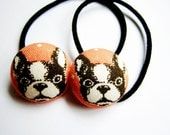 Button Ponytail Holders - Baby Pugs