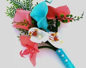 Wedding Bouquet White Coral Silk Orchid, Turquoise Coral  Real Touch Calla Lily