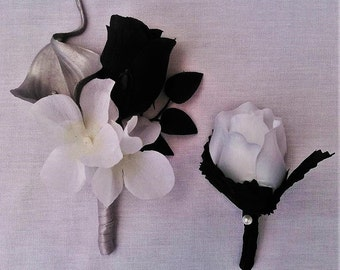 Boutonniere OR Corsage Black, White, Silver, Calla Lily, Hydrangea,Silk Rose Bud, Pearl Accent Wedding, Prom.