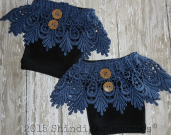 Blue Lace & Button Boot Topper Cuff Warmer