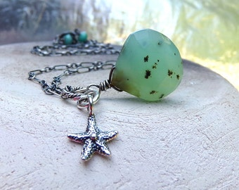 Opal Necklace, Blue Opal Necklace, Sterling Silver Necklace, Starfish Charm Necklace, Turquoise Green, October Birthstone - Summer Friend