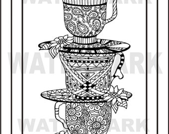 Tea for Three Adult coloring page