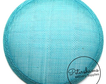 14cm Round Millinery Sinamay Hat Base for Fascinators, Cocktail Hats and Wedding Hats - Turquoise