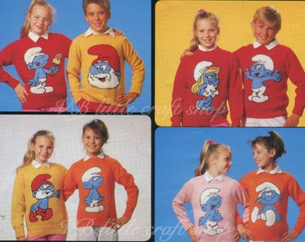 Children' s and adult's Smurfs jumpers 8 knitting patterns. Amazing! So cute! Instant PDF download!