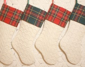 Antique Fisherman Style Hand Knitted Coverlet Christmas Stocking with Royal Stewart Tartan Wool Cuff - 4 Available, 2 Cuff Colors and Styles