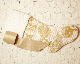 """Stunning Metallic Gold """"French Filigree"""" Stocking with Christmas Music Design and Vintage Chenille Cuff and Metallic Gold Linen Bow"""