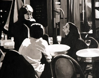 "Black and white original painting by Elizabeth Barenis, ""Rencontrer,"" 20"" x 20"", French Cafe Scene, Framed acrylic on canvas"