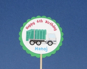 Garbage Truck Cupcake Toppers, Set of 24, Recycling Party, Garbage Truck Birthday,