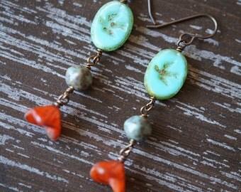 Sparrow Earrings - Woodland Earrings - Boho Earrings - Orange and Turquoise - Flower Earrings - Bead Soup Jewelry