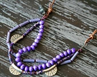 Boho Stone Necklace - Multi Strand Necklace - Purple Stone Necklace - Leather - Heshi Jewelry - Bohemian